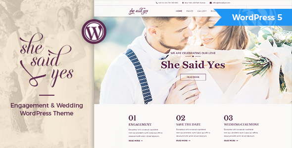 SheSaidYes - Engagement & Wedding WordPress Theme