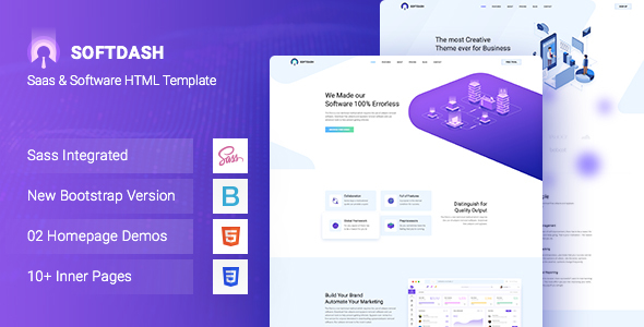 Softdash – Creative SaaS and Software HTML5 Template