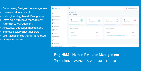 Easy HRM - Human Resource Management ASP.NET CORE EF CORE