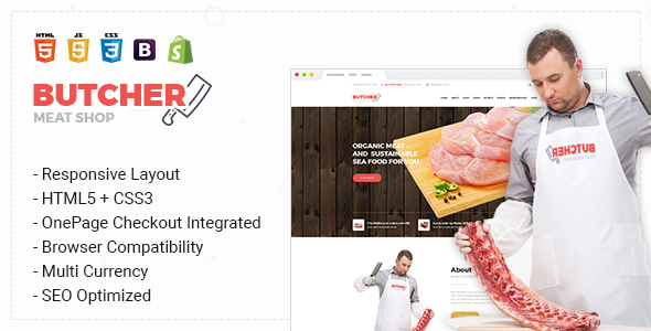 Butcher - Responsive & Multipurpose Bootstrap Sectioned Drag & Drop Shopify Theme