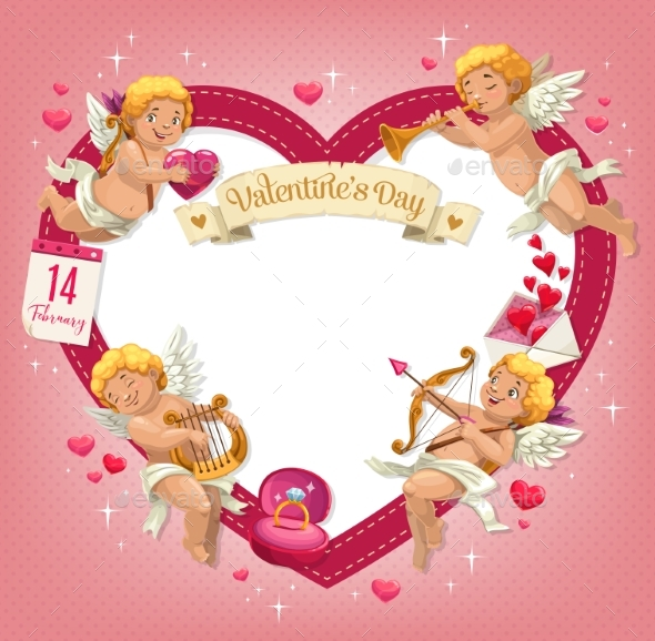 Valentines Day Heart with Cupids