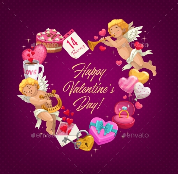 Valentine Day Love Heart with Gifts