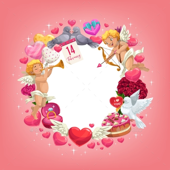 Valentines Day Love Holiday Hearts and Gifts Frame