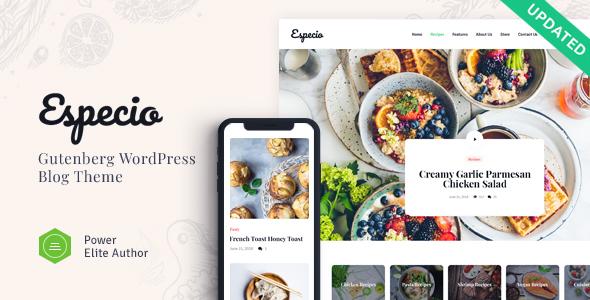 Especio | Personal Gutenberg Food Blog WordPress Theme