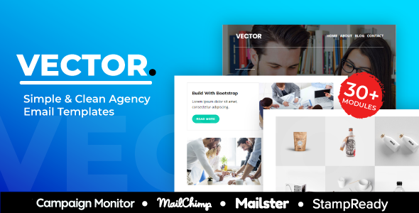 Vector – Agency Responsive Email Template 30+ Modules – StampReady + Mailster & Mailchimp Editor