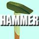 Hammer hitting Nail Wood and Rock