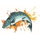 Vector Illustration Salmon Fish with Color Stain - GraphicRiver Item for Sale