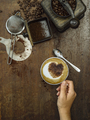 Making coffee on an old wooden table - PhotoDune Item for Sale
