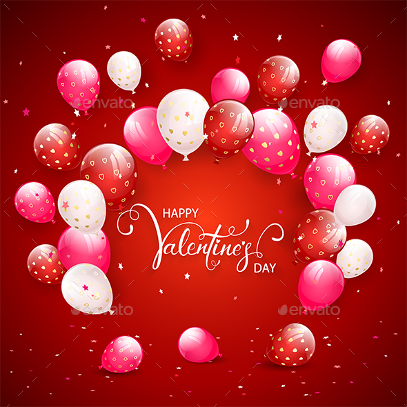 Text Happy Valentines Day with Balloons