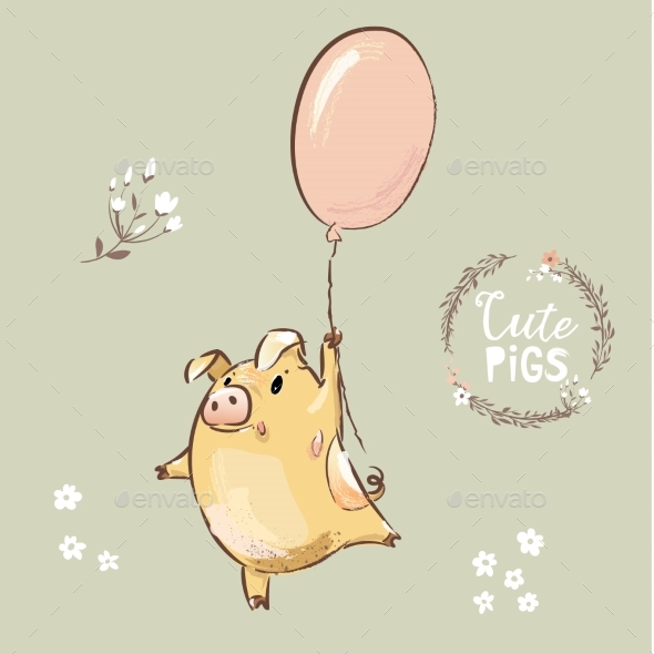 Pig Fly on Balloon