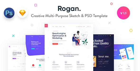 Rogan - Kreatywny wielofunkcyjny szkic i szablon PSD