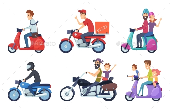 Motorcycle Driving. Man Rides with Woman and Kids