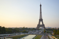 Eiffel tower seen from Trocadero, nobody in a clear summer morning in Paris - PhotoDune Item for Sale