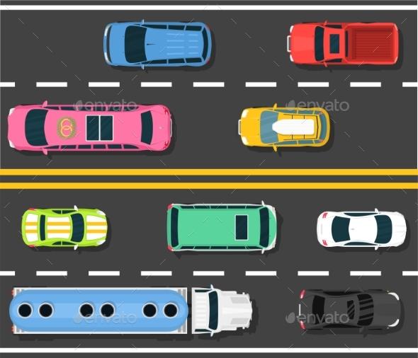 Car Road Topview Vector Illustration