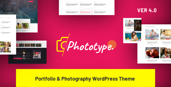 Phototype - New Elementor Portoflio WordPress Theme 2019 for Agency, Photography Sites