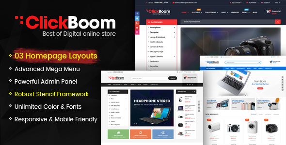 ClickBoom - Responsive StenCil BigCommerce Theme with Advanced Option
