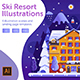 Winter Ski Resort Web Illustrations - GraphicRiver Item for Sale