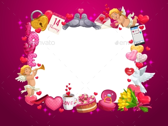 Valentines Day Hearts and Love Holiday Gifts Frame