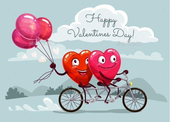 Valentines Day Hearts Riding Bicycle with Balloons