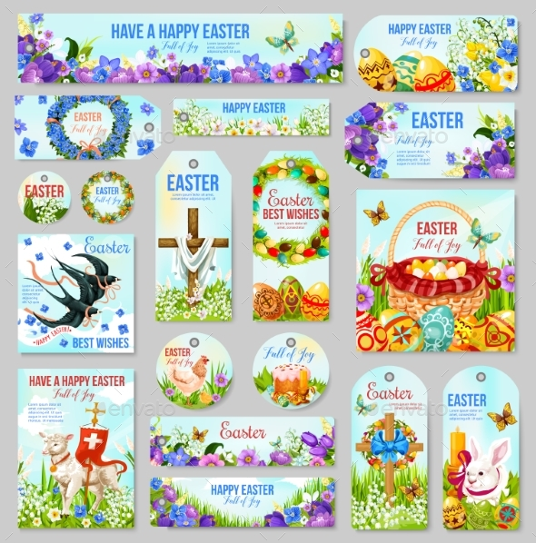 Easter Tag and Label for Religion Holiday Design