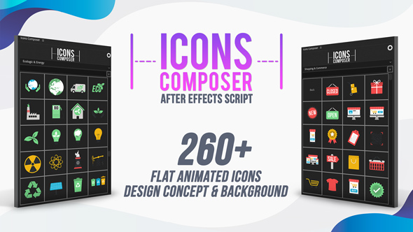 Icons Composer Script / Flat animated icons / Design concepts and backgrounds