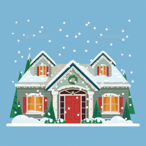 Yard with House or Home Decorated for New Year