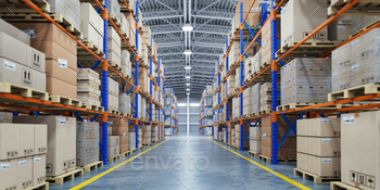 Warehouse or storage and shelves with cardboard boxes. Industria