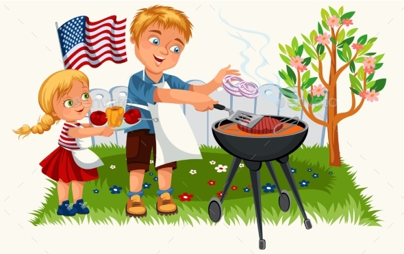 Happy Father Cooking Meat and Onion with Daughter