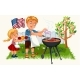 Happy Father Cooking Meat and Onion with Daughter - GraphicRiver Item for Sale