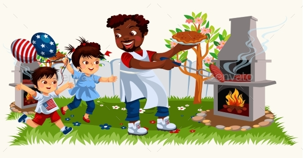 Picture of Cheerful Family Cooking Bbq