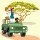 Couple Riding in the Car with Driver in the Zoo - GraphicRiver Item for Sale