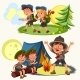 Cartoon Scouting Children Mentor Guides Outdoor - GraphicRiver Item for Sale