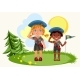 Girl and Boy Saluting Standing on Green Meadow - GraphicRiver Item for Sale