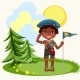 African American Boy Saluting Standing on Green - GraphicRiver Item for Sale