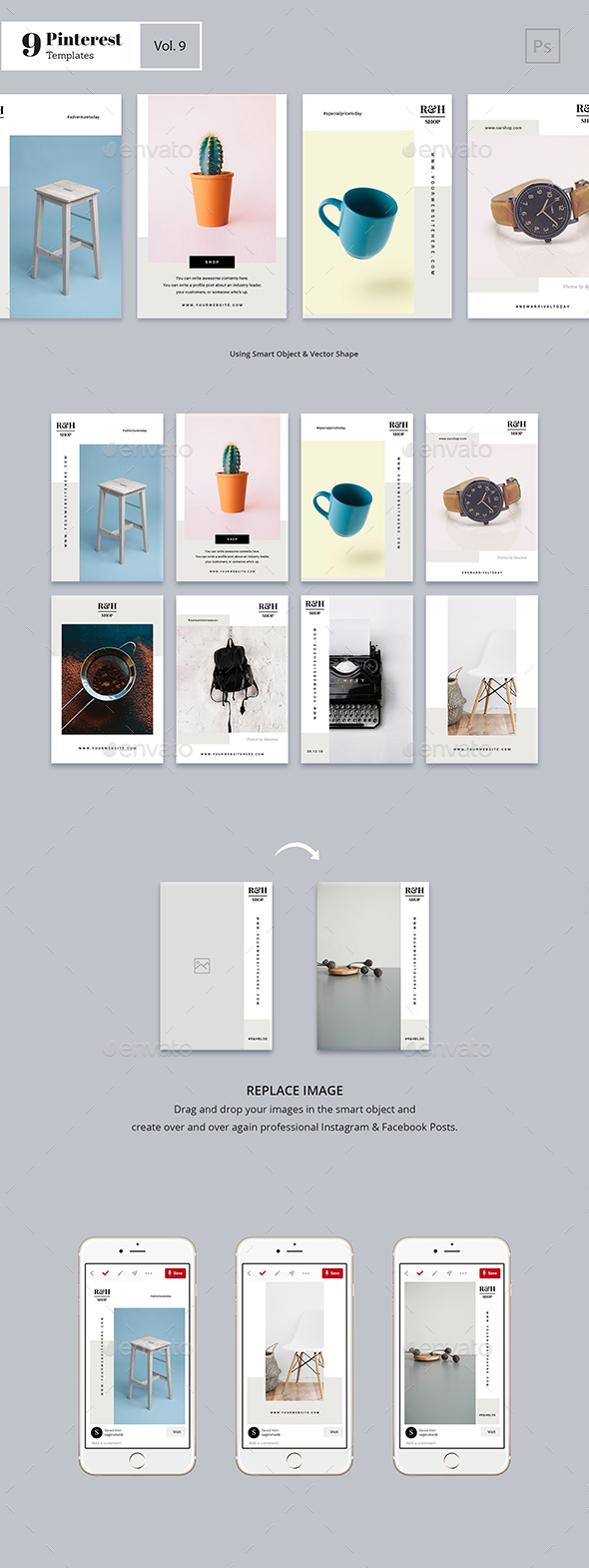 19 Pinterest PSD Graphics, Designs & Templates from GraphicRiver