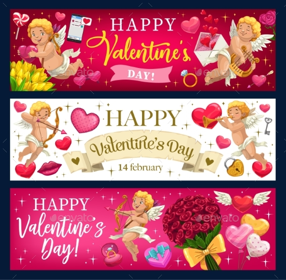 Valentines Day Hearts, Flowers and Cupids