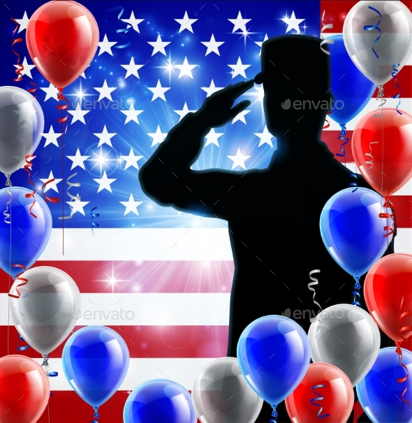 Saluting Soldier American Flag Balloon Background