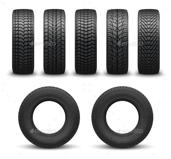 Car Wheel Tires or Tyres Vector