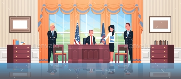 United States President Sitting Workplace Signing