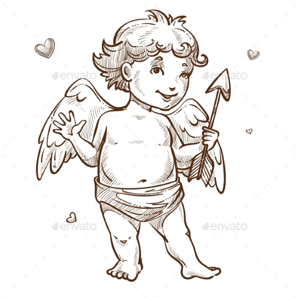Angel with Arrow and Wings Valentines Day Cupid