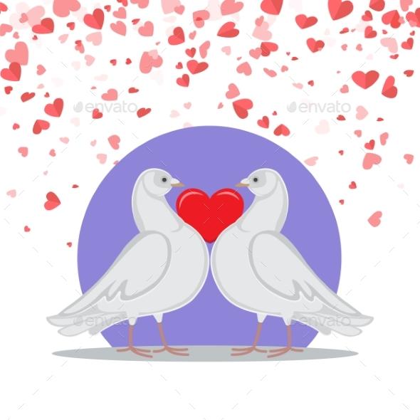 Valentine Greeting Card Doves Love Heart Symbols
