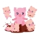 Pig Family Bathing in Dirt - GraphicRiver Item for Sale