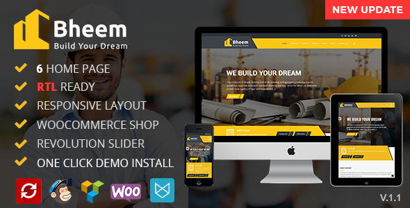 Bheem : Construction WordPress Theme RTL Ready