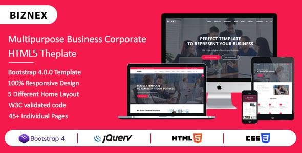 BIZNEX - Multipurpose Business And Corporate HTML5 Template