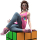 Girl Sitting On A Colored Cube - GraphicRiver Item for Sale