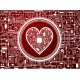 Valentines Day Red Background with Cyber Heart - GraphicRiver Item for Sale