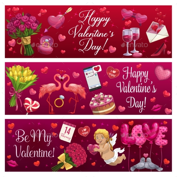 Valentines Day Love Holiday Hearts, Gifts and Ring