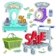Colorful Sticker, Set Supermarket and Trade - GraphicRiver Item for Sale