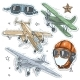 Colorful Sticker, Set Retro Old Aircraft, Pilot - GraphicRiver Item for Sale