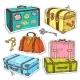 Colorful Sticker, Set Retro Luggage, Old Vintage - GraphicRiver Item for Sale